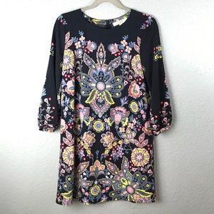 LOFT Colorful Floral Shift Dress MP EUC